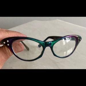 Purple and blue rhinestone cat eyeglasses woman